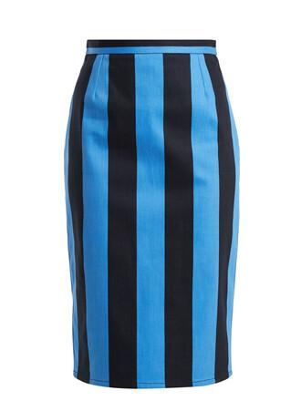 skirt pencil skirt denim high blue