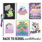 home accessory,pastel,back to school,notebook,unicorn,dinosaur,cats,dog,alien,weird