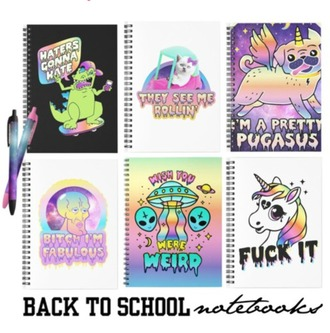 home accessory pastel back to school notebook unicorn dinosaur cats dog alien weird