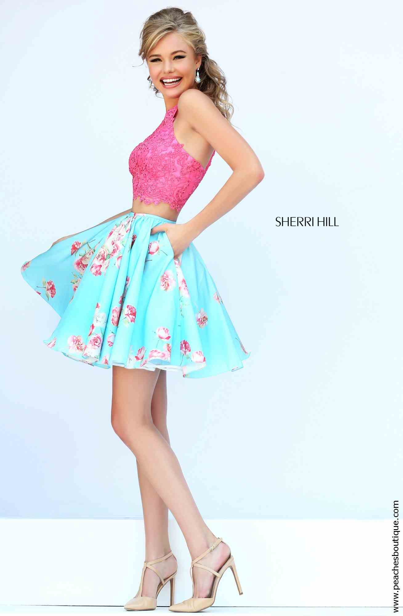 Sherri hill short applique bodice dress 32245