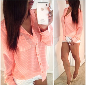 blouse pattern style coral dress coral top white shorts shorts denim shorts colorful tops nude high heels high heels polka dots