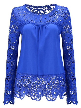 top blue lace trendy royal blue girly long sleeves style zaful
