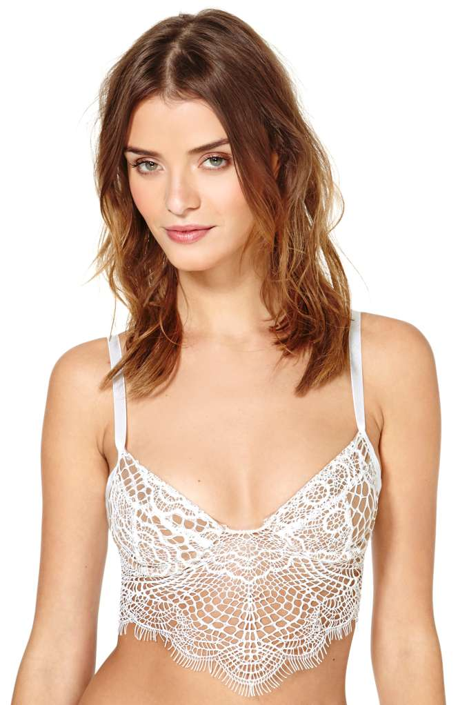 7f42d95dd9 SKIVVIES Bat Your Lashes Lace Bralette - White
