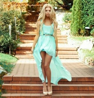dress blue mint pink light blue cute dress