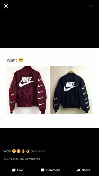 coat nike burgundy black nike jacket maroon/burgundy