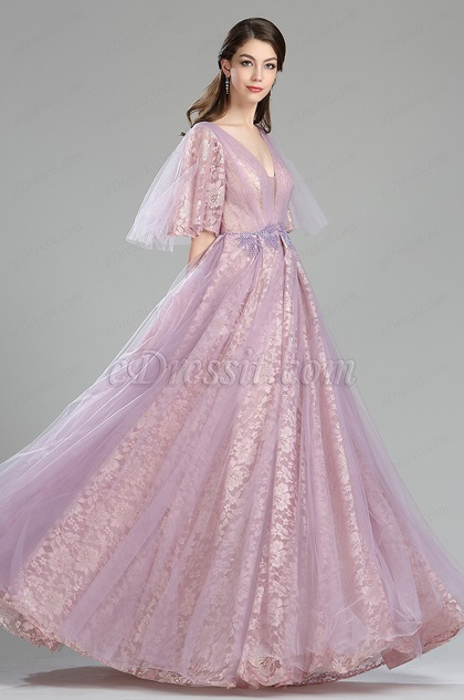 Pinkish Purple Lace Quinceanera Prom Gown Women Dress (02180116)