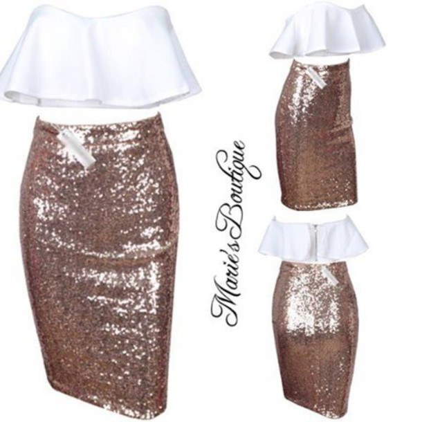 2a7afc07f8 dress maries boutique two piece skirt set two-piece two piece dress set  sequin skirt