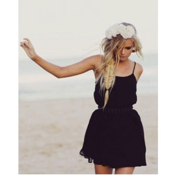 hat fishtail braid dress black flowers tumblr girl tumblr clothes