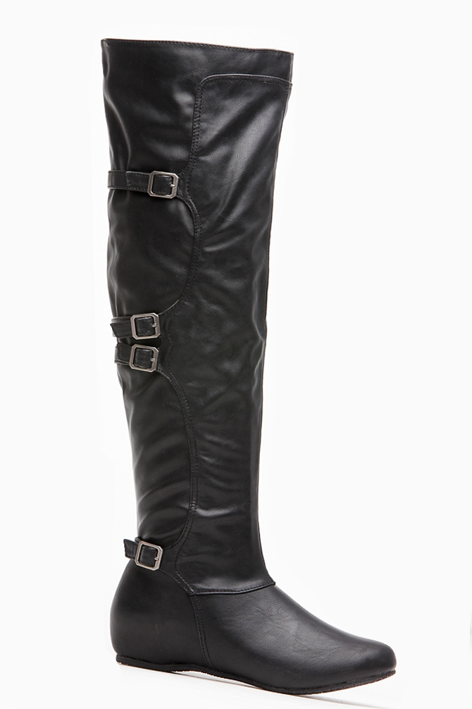 Bamboo black leatherette buckle knee high boots @ cicihot boots catalog:women's winter boots,leather thigh high boots,black platform knee high boots,over the knee boots,go go boots,cowgirl boots,gladiator boots,womens dress boots,skirt boots.