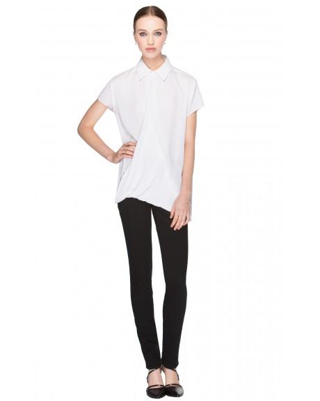 Jazi Cap Sleeve Overlap Drape Shirt | Tops | Alice   Olivia