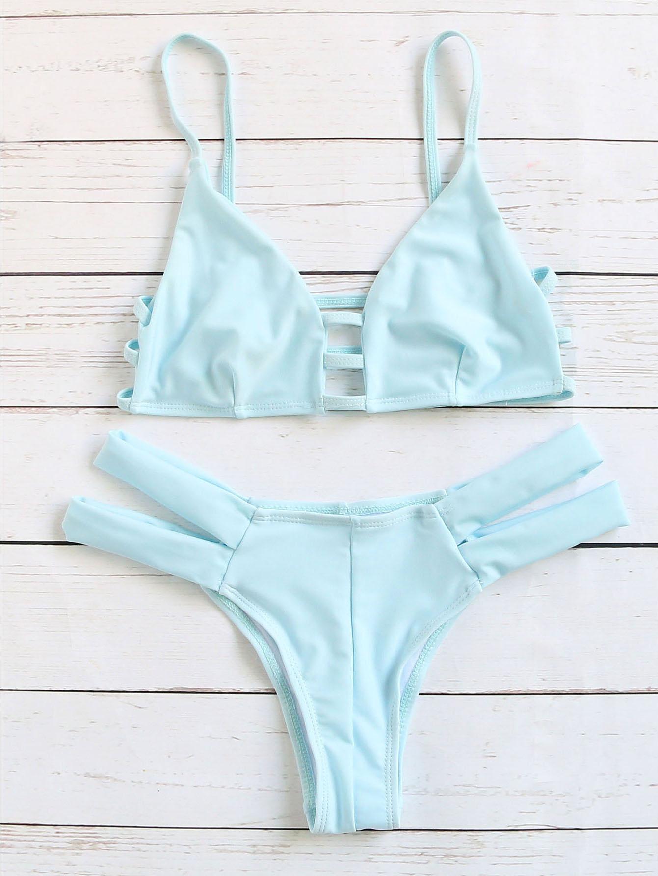 2fac06a35a Blue Cutout Strappy Sexy Bikini Set -SheIn(Sheinside)