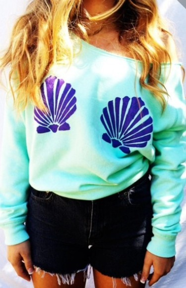 sweater off the shoulder sweater hipster the little mermaid mermaid seashell teal purple Disney