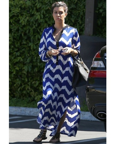 Valeria chevron print maxi dress