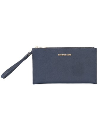 zip women clutch leather blue bag