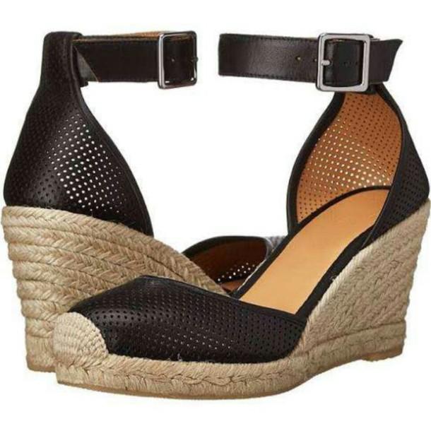 shoes black beige buckles wedges sandals