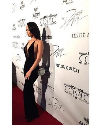 dress draya michele gown v neck dress black