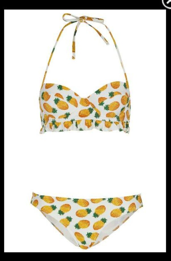 swimwear pineapple summer bikini pineapple swimsuit pineappel pineapple print bikini bikini bottoms bikini top topshop hipster bikini