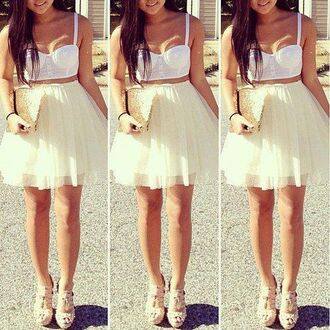 dress clothes tank top crop tops summer pretty white skirt white dress thats chic chic shirt