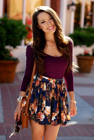 skirt floral plum sleeved bracelet chains necklace shirt top high waisted skirt dress blouse floral print skater skirt burgundy top long sleeves summer summer outfits cute burgundy fall outfits floral navy blue skirt maroon scoop shirt fashion