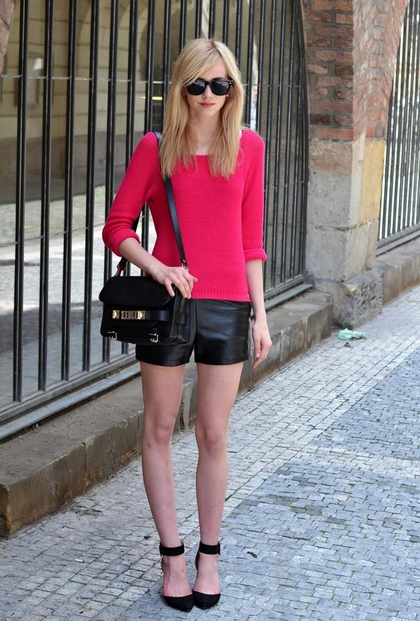vogue haus sweater shorts shoes sunglasses bag