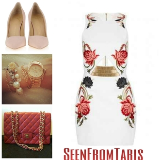 shoes dress jewels pumps floral chanel gold