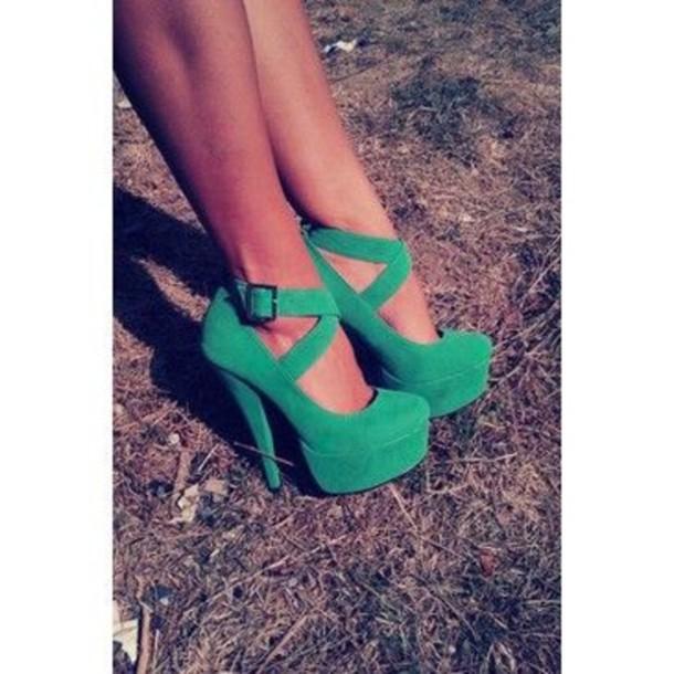 shoes green heels buckles criss cross closed toe