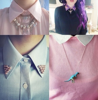 blouse collared shirts pastel goth pastel pink purple hair studs dinosaur foral crop top foral botton up jewels