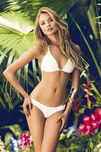 swimwear bikini cheeky full coverage halter top mar de rosas ruched triangle white