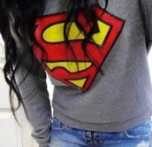 sweater,superman,winter sweater,winter outfits,grey sweater,grey,red,yellow,clothes,jeans,denim