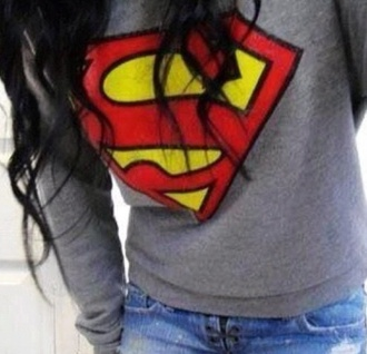 sweater superman winter sweater winter outfits grey sweater grey red yellow clothes jeans denim