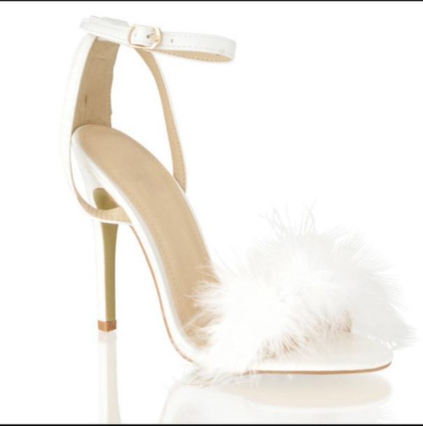 shoes, fur heels, faux fur, white
