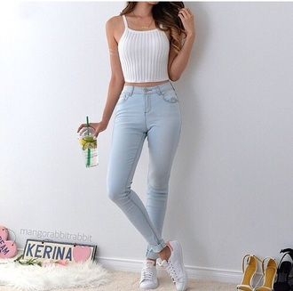 jeans cute tumblr style americanstyle fashion love white pants crop tops