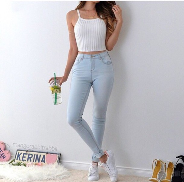 Jeans Cute Tumblr Style Americanstyle Fashion Love White Pants Crop Tops Crop Tops