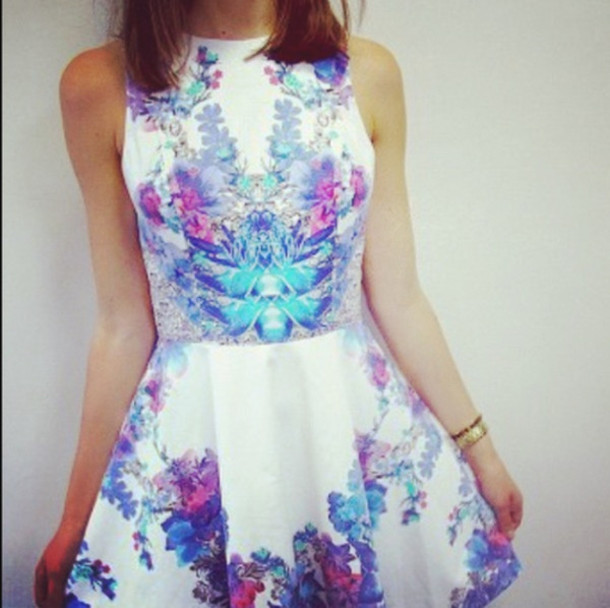 125b923eb836 dress tumblr tumblr skater dress flowers floral dress floral dress white  blue purple pink semi formal