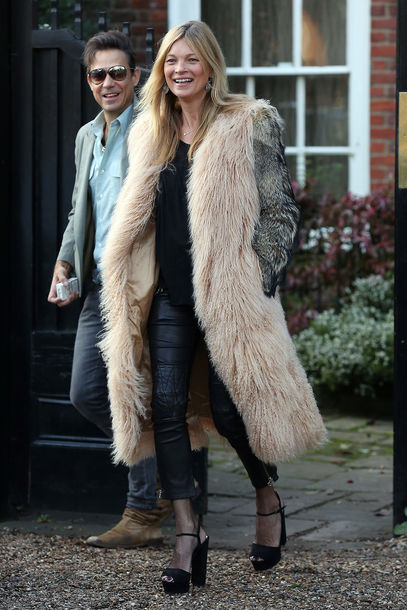coat kate moss platform sandals leather pants fur coat pants