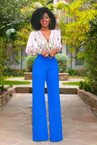 blogger top pants shoes blue pants