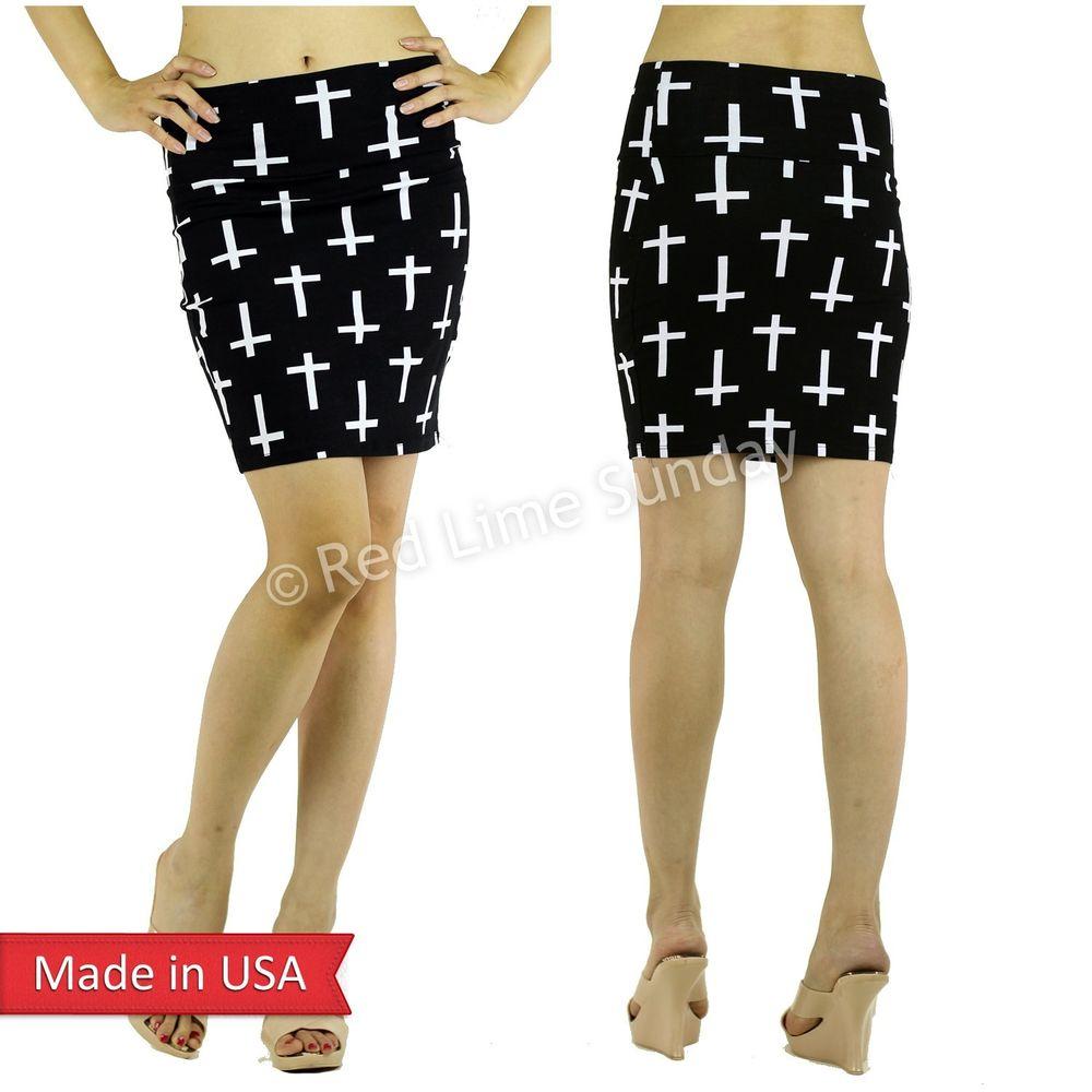 Women Black White Cross Print Cotton Wide Waistband Mini Pencil Tube Skirt USA