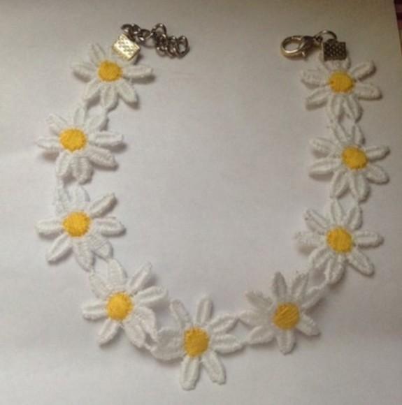 daisy white style jewels yellow choker dress tumblr instagram necklace fashion choker necklace