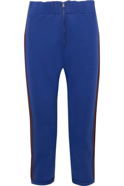 pants track pants cropped cotton blue royal blue