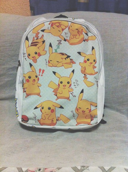pokemon bag backpack yellow anime white