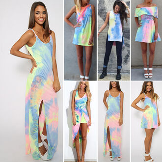 slit dress maxi dress tie dye pastel summer dress pastel dress shirt dress colorful tumblr girl girly tie dye dress sleeveless off the shoulder 90s style long dress short dress sandals white sandals skater skirt style tumblr outfit tumblr pinterest girl trendy summer instgram backless kawaii long
