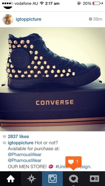 c6dd5ae0be14 shoes black converses gold studs