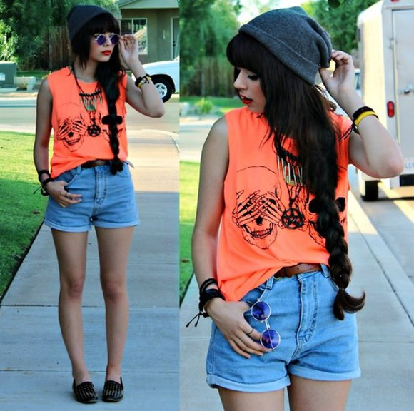 orange t-shirt shirt t-shirt clothes orange shirt t shirt skulls skull skull t-shirt skull shirt orange orange tank top