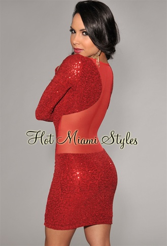 Red Allover Mini Sequins Mesh Back Dress