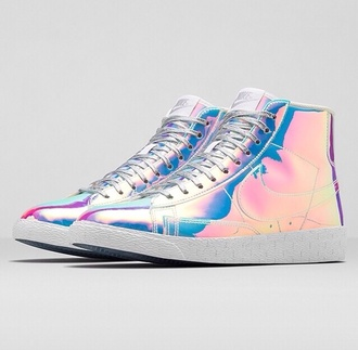 shoes holographic rainbow sneakers adidas metallic shoes high top sneakers nike blazer nike highcut cool liquid metal nike shoes new