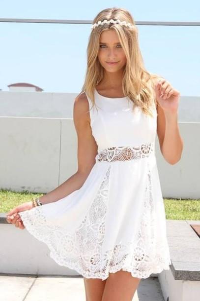 dress white lace short dress graduation white dress cute graduation dress lace dress short