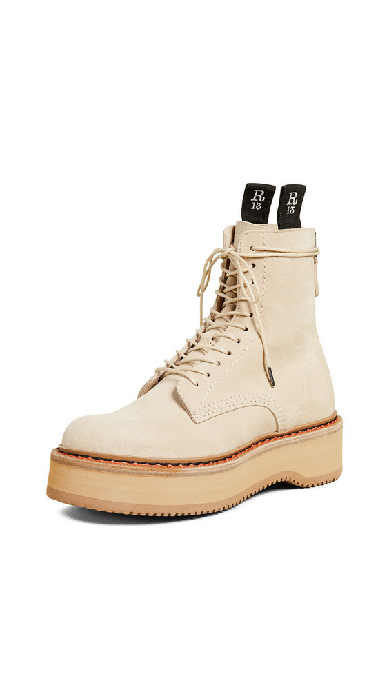 R13 Single Stack Suede Boots in tan