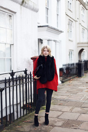 into the fold,blogger,sweater,bag,red sweater,jeans,shoes