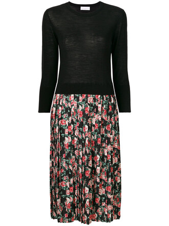 dress pleated women floral print black wool