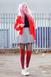 kayla hadlington,blogger,tartan,knee high socks,skater skirt,checkered,red jacket,jacket,skirt,socks,shoes